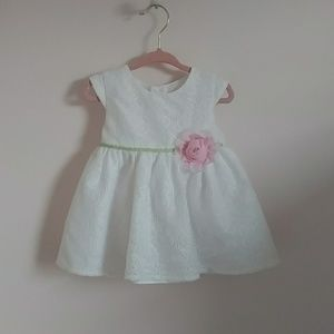 George Dresses - White lace dress with green ribbon and pink flower